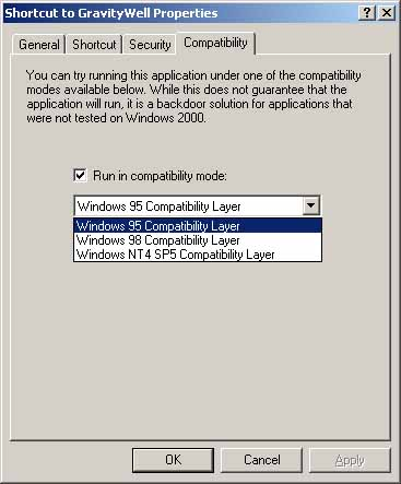Using and Enabling compatibility Mode  (Win2k)